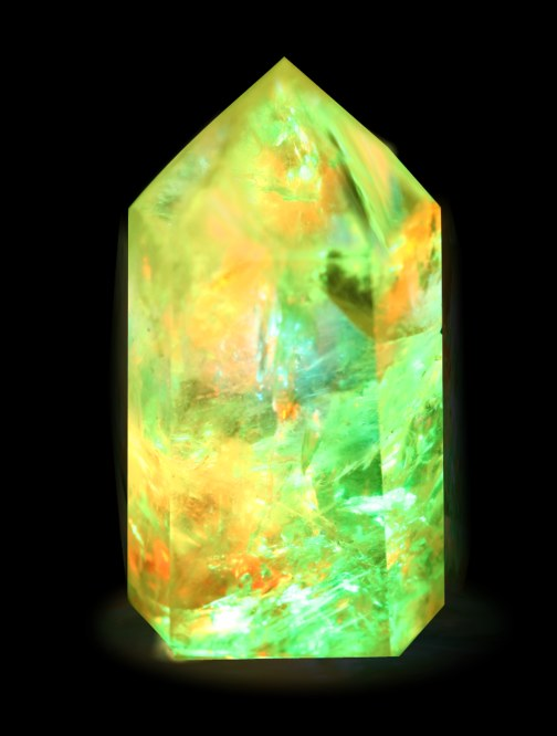 green orange fantasy crystal