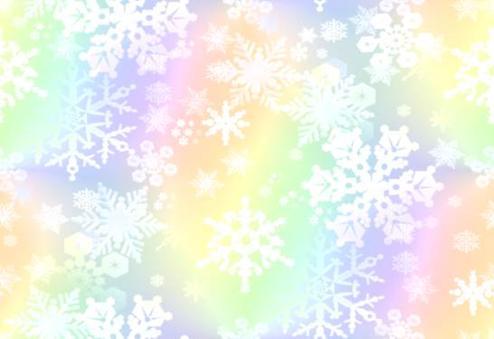 Snowflakes Rainbow Paper Snowstorm Repeating Background Fill