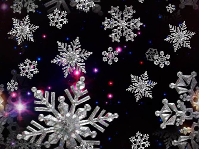 Snowflakes Midnight Fantasy Repeating Seamless Background
