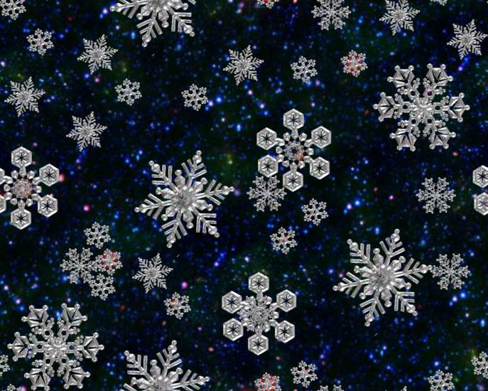 Snow Flakes Night Fantasy Repeating Seamless Background Tile